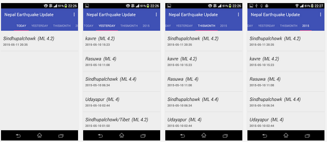 Earthquake Apps 2015