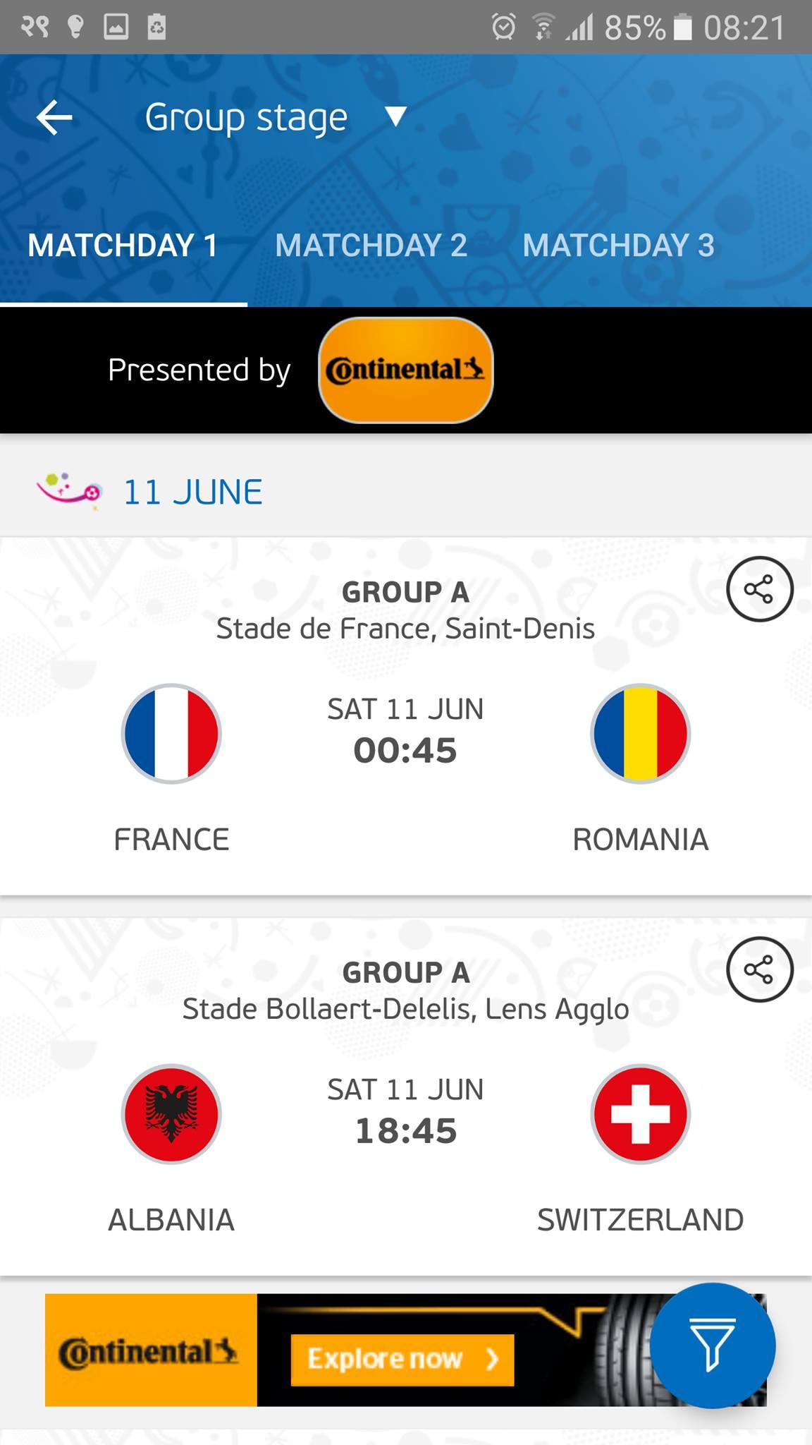 euro 2016 official app