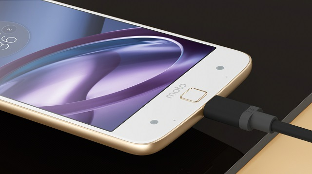 The Moto Z features a USB type C port that delivers up to 8 hours of use with just 15 minutes of charging.