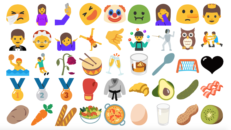 Newly added emojis in Android 7.0 Nougat