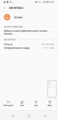Galaxy S8 screen on time