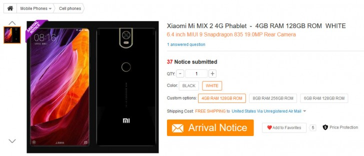 Xiaomi mi mix 2 listing gearbest price