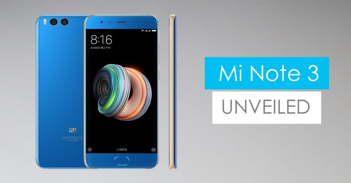 Xiaomi MI note 3 announced