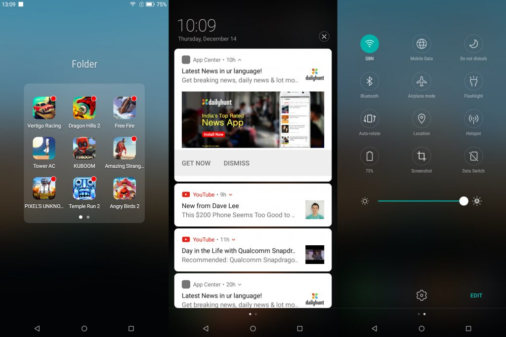 Micromax canvas infinity screenshot UI