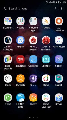Samsung J7 Duo Apps Tray