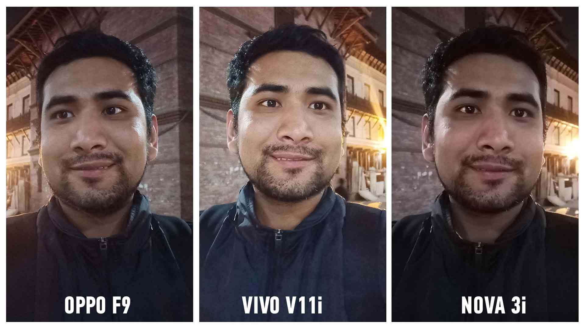 vivo v11 vs oppo f9 vs nova 3i selfie camera comparison night