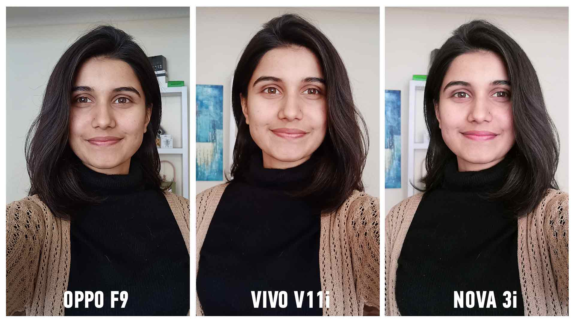 vivo v11 vs oppo f9 vs nova 3i selfie camera comparison