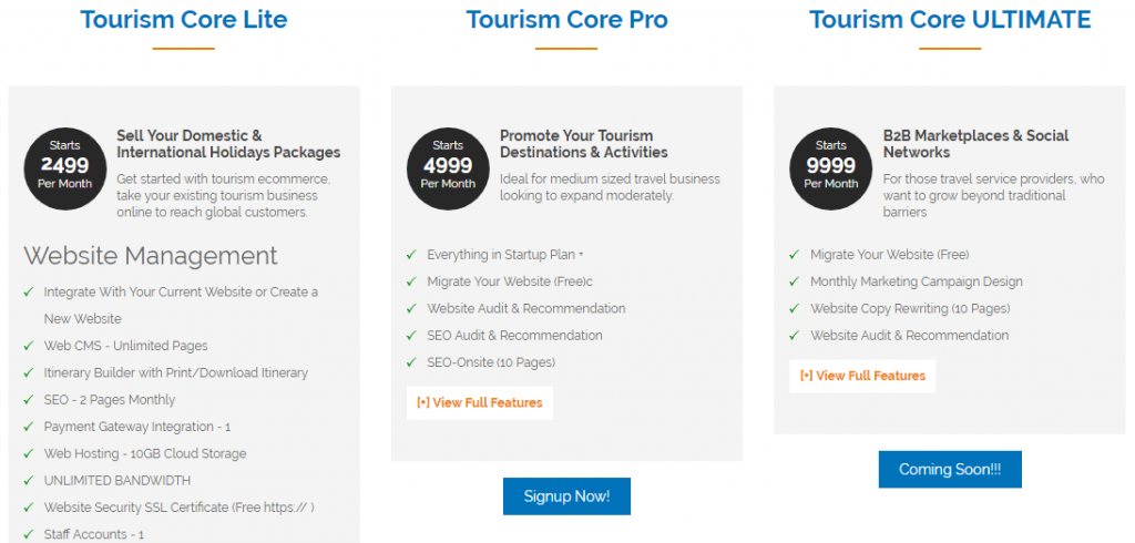 tourism core packages
