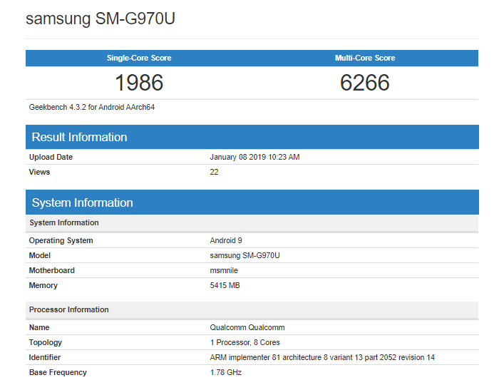 Samsung Galaxy S10 E Geekbench score