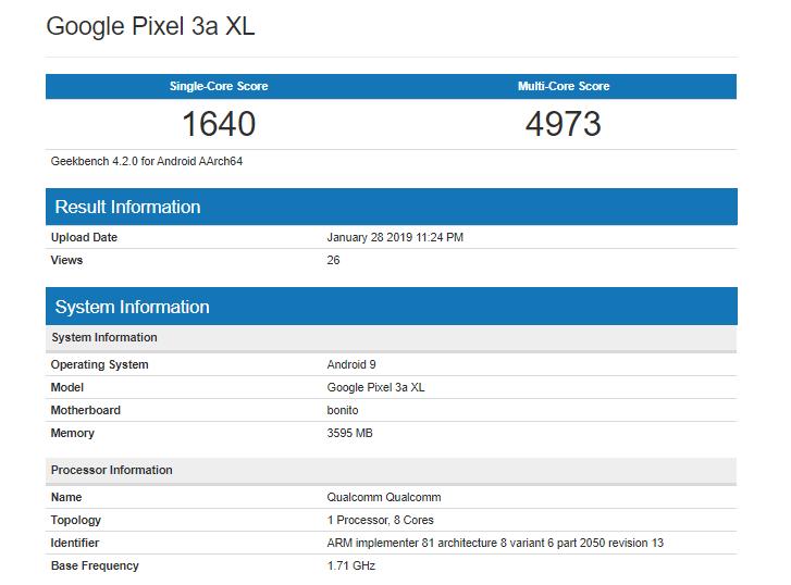 Pixel 3 Lite XL Geekbench Score