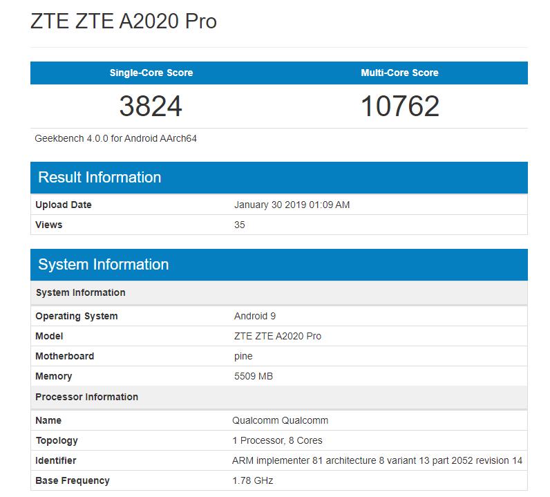 ZTE Axon 10 Pro benchmark