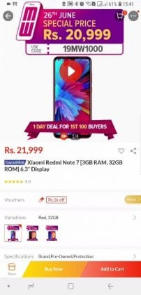 Redmi Note 7 Product page