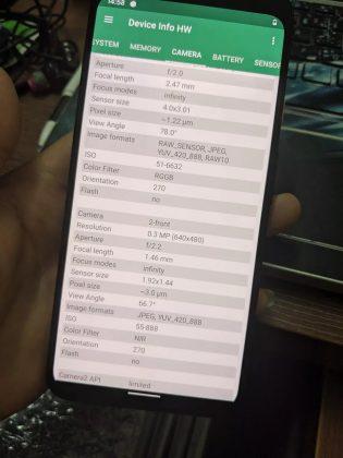 Device Info HW camera details