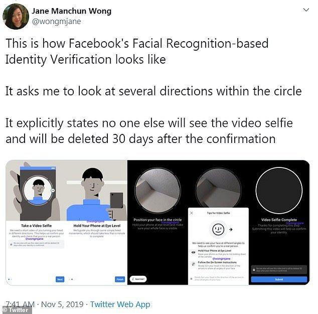Facebook's facial recognition based identity verification jane manchun wong tweet