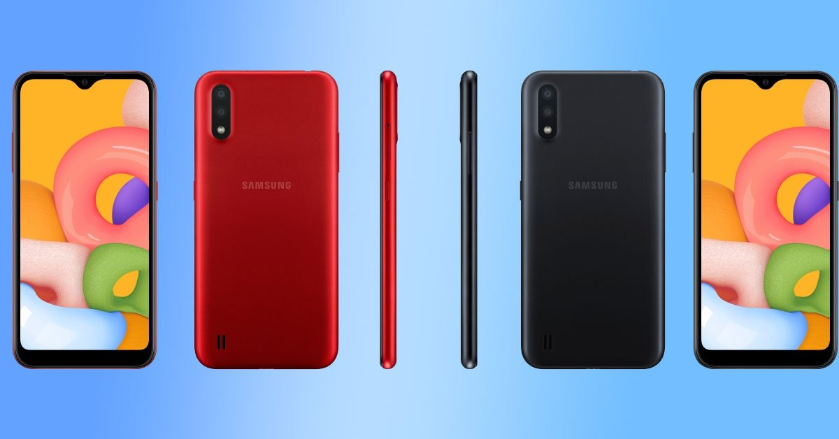 Samsung Galaxy A01 Color Options side view back view red color