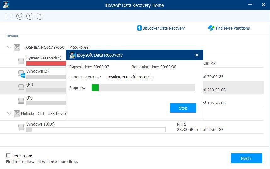iBoysoft Data Recovery Scanning