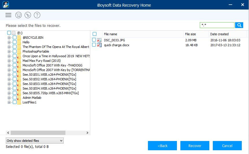 iBoysoft Data Recovery only show deleted files