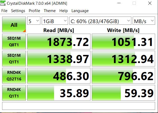 ASUS TUF FX505GT SSD speed
