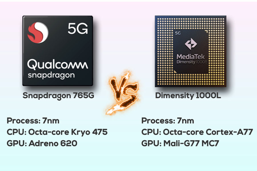 Snapdragon 765G vs Dimensity 1000L - Specs
