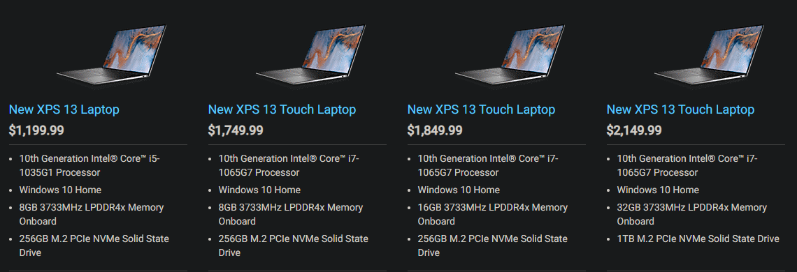 dell xps 13 2020 9300 price