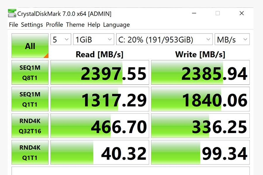 ASUS ZenBook Pro Duo SSD read-write speed