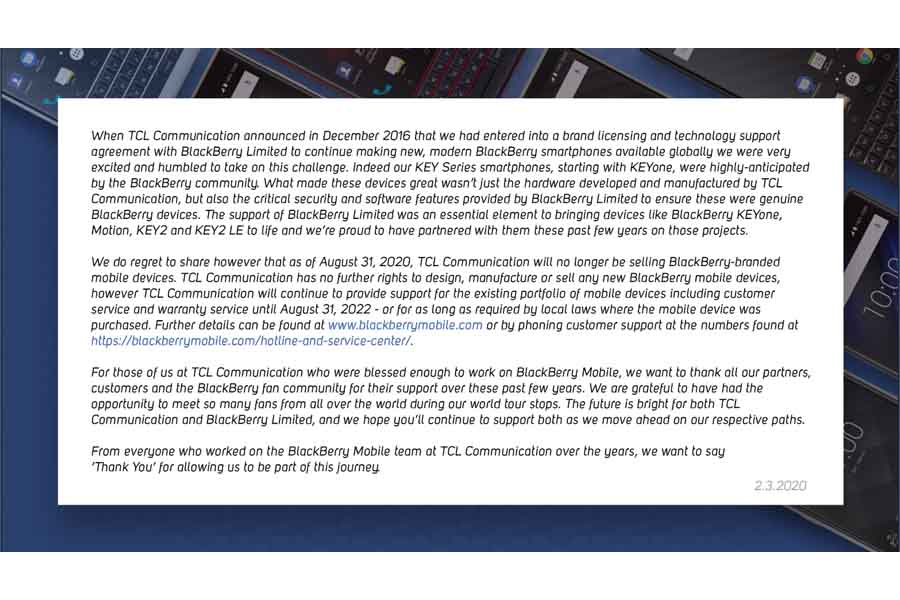 BalckBerry ends terms with TCL Communication
