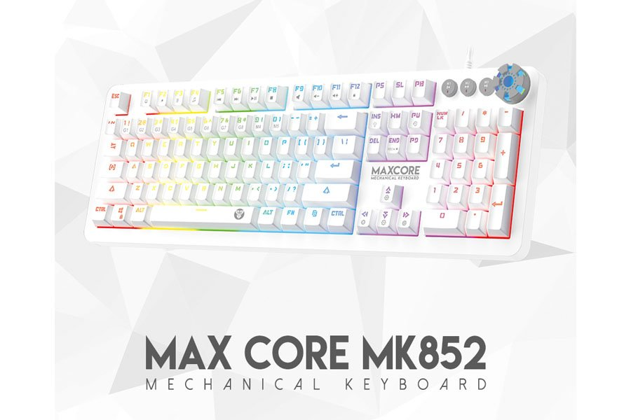 fantech mk852 max core gaming keyboard space white edition media controller