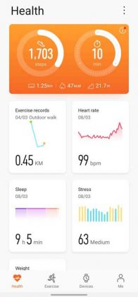 Huawei Health app - homescreen