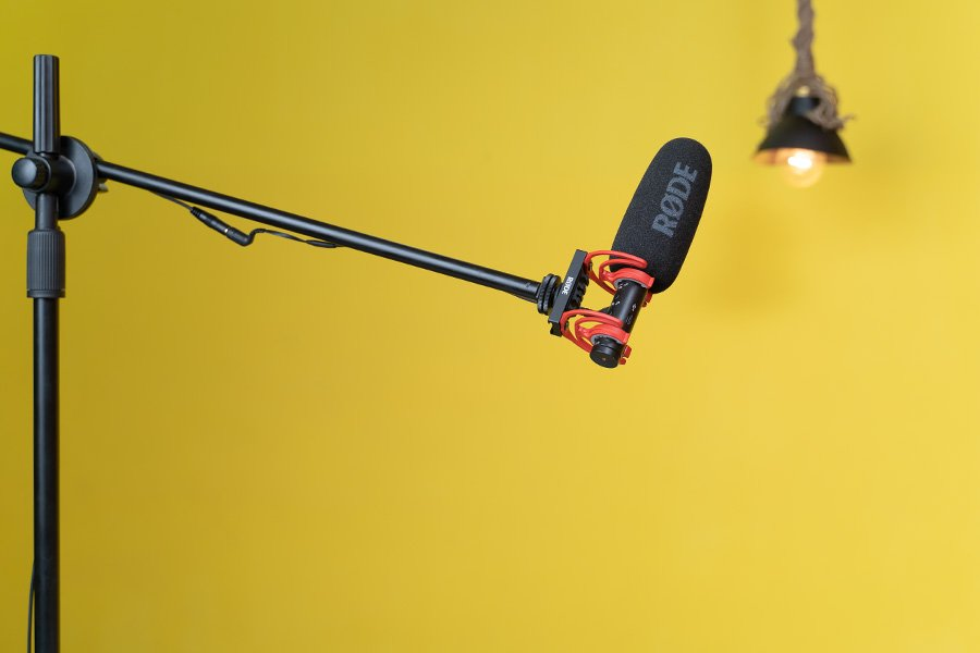 RØDE VideoMic NTG on a boom stand