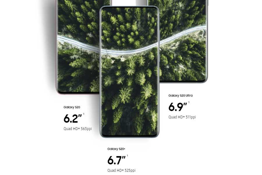 Samsung Galaxy S20, S20+, S20 Ultra Display