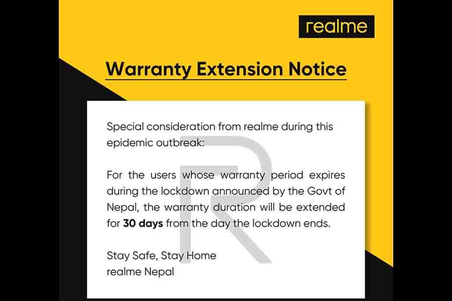 Realme nepal extended warrarnty lockdown covid19 coronavirus