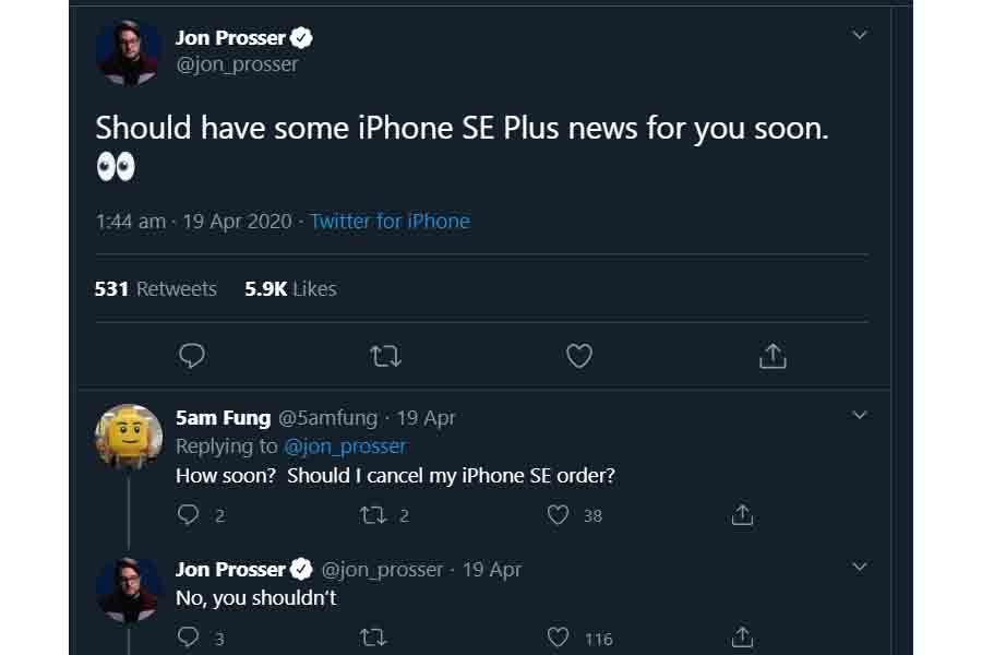 iPhone SE Plus Jon Prosser teaser tweet specs rumors leaks