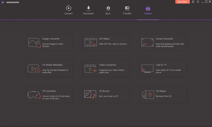 WonderShare UniConverter - Toolbox UI