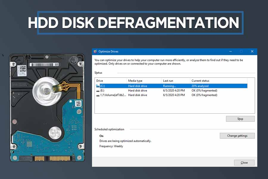 HDD Disk Defragmentation to improve performance of old laptop