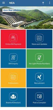 NEA app - Old design - Home Screen