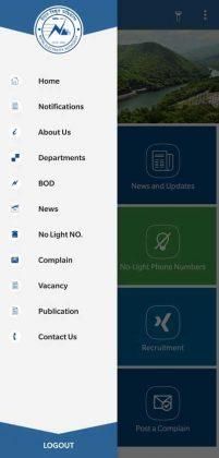 NEA app - Old design - Side Menu