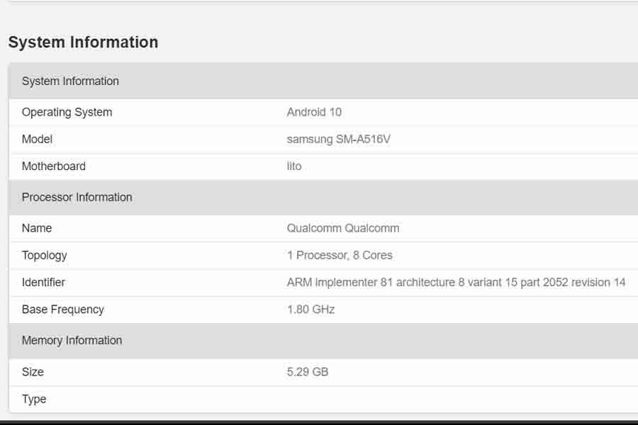 Samsung Galaxy A51s 5g geekbench listing