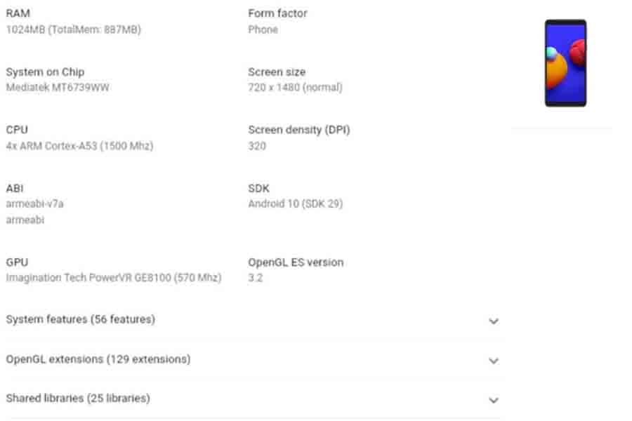 Samsung Galaxy Core A01 Core google play console listing specs rumors leaks