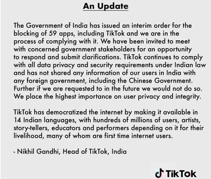 Tiktok India official statement on Indian Ban