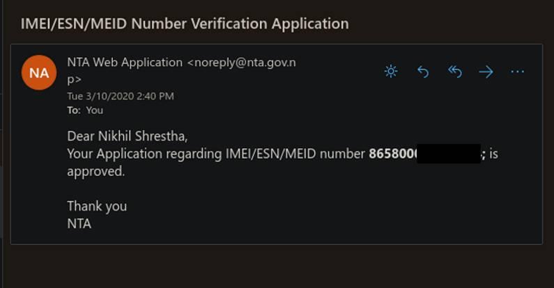 NTA IMEI Registration - Confirmation