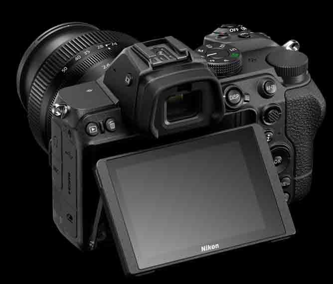 Nikon Z5 back design EVF LCD tilting screen
