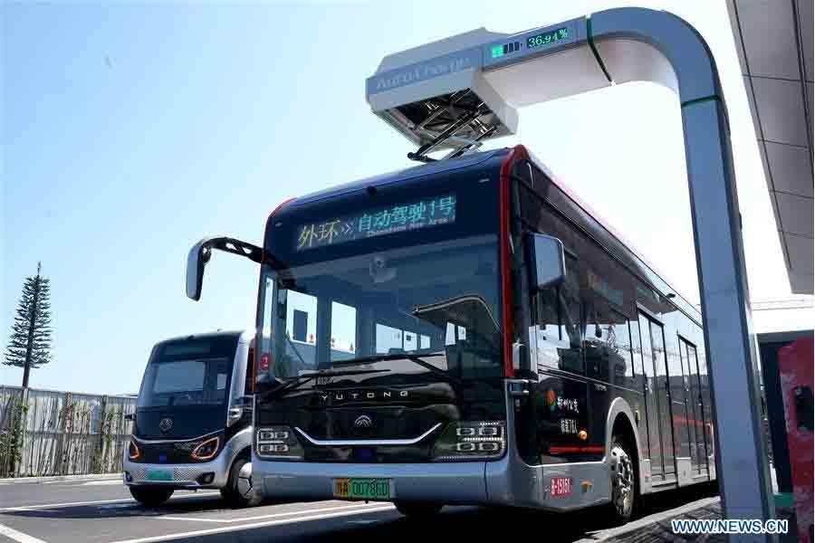 Charging station autopilot bus