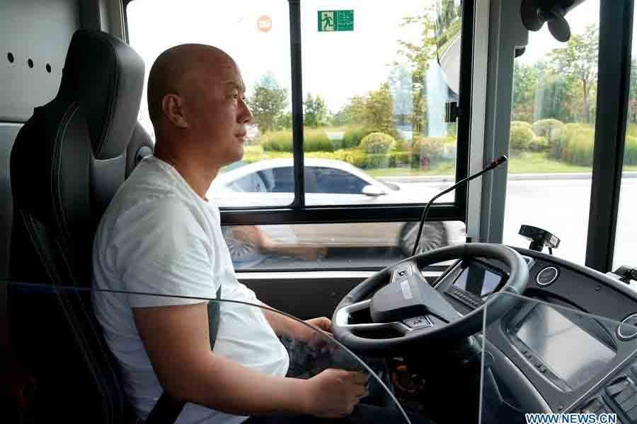 driving staff in Autopilot bus