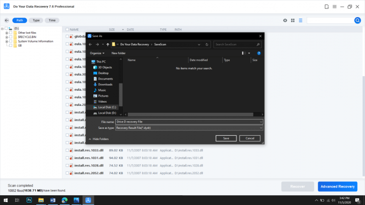 Exporting Recovery File