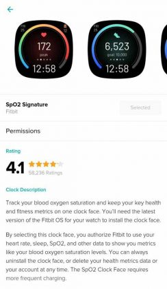Fitbit App - SpO2 Signature Clock Face