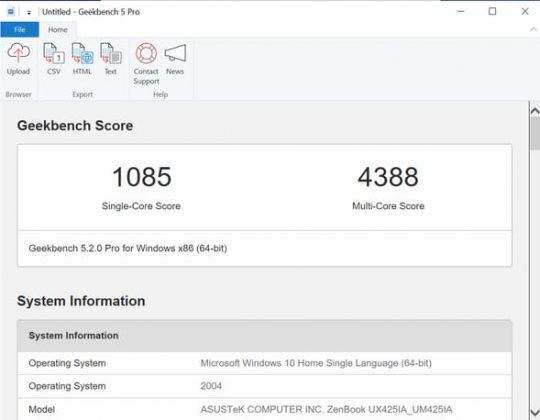 ZenBook 14 - Geekbench 5 (CPU)