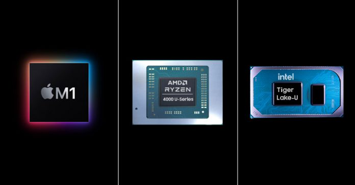 Apple M1 vs AMD Renoir vs Intel Tiger Lake CPU