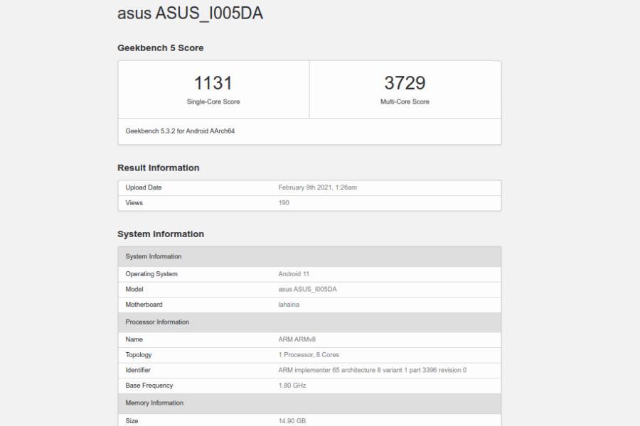 Asus ROG Phone 5 - Geekbench 5 Score (16GB)