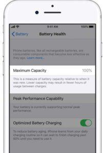 Battery Health Settings for iOS