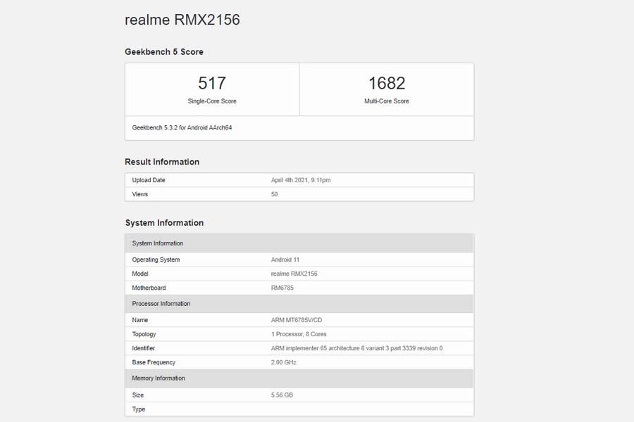 Realme Narzo 30 4G Geekbench 5 listing